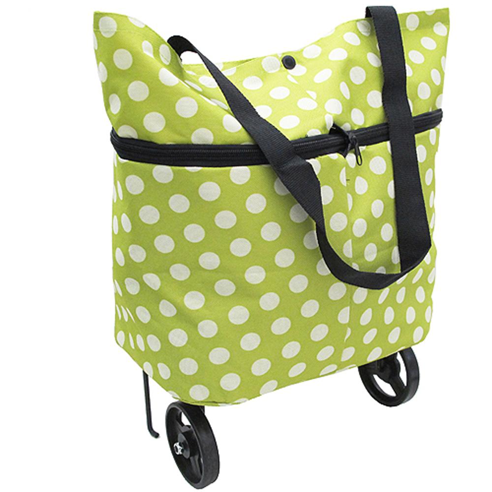 時尚圓點可加大容量摺疊購物車購物袋(CL08)