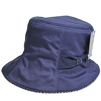 DAKS 抗UV科技纖維字母格紋滾邊蝴蝶結漁夫帽(單寧藍)