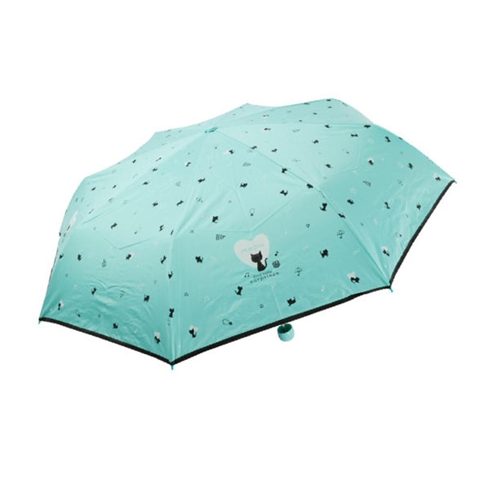 飛蘭蔻 甜心滿版貓咪遮光膠布/彩色傘骨玻纖傘#3052 (隨機出貨)