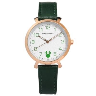 Disney 迪士尼 童趣 米妮刻度 兒童 卡通錶 真皮手錶-白x玫瑰金框x綠/32mm