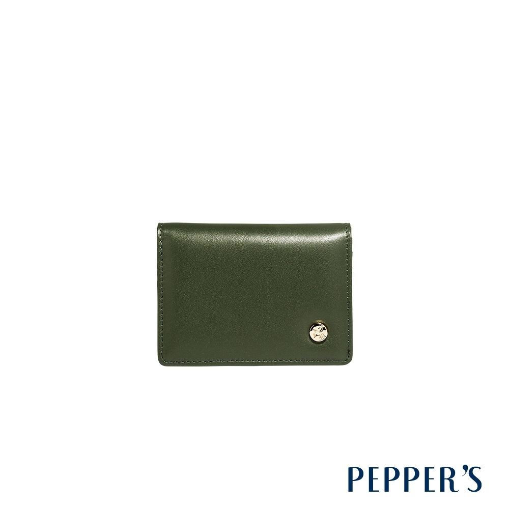 PEPPER'S Raven 牛皮名片夾 - 橄欖綠