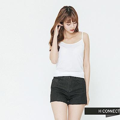 H:CONNECT 韓國品牌 女裝-純色圓領細肩背心-白