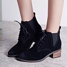 韓國KW美鞋館 (現貨+預購)-復古感綁帶尖頭優雅短靴-黑