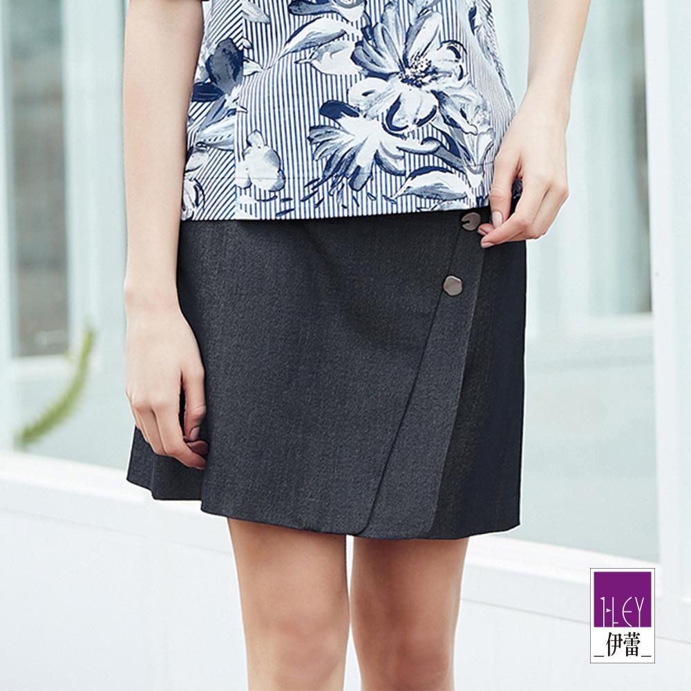 ILEY伊蕾 造型釦仿牛仔褲裙(黑/藍)