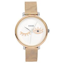 FOSSIL 美國精品手錶JACQUELINE WINK白錶盤x玫瑰金錶框米蘭錶帶36mm