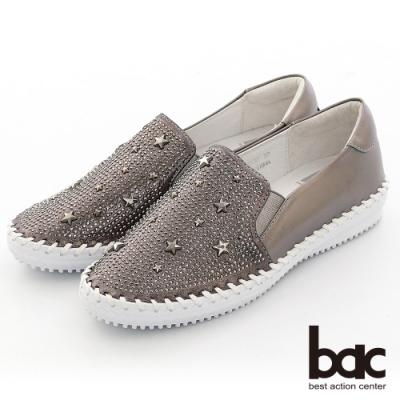 【bac】休閒享樂星星鉚釘鑽飾手縫線懶人休閒鞋-槍色