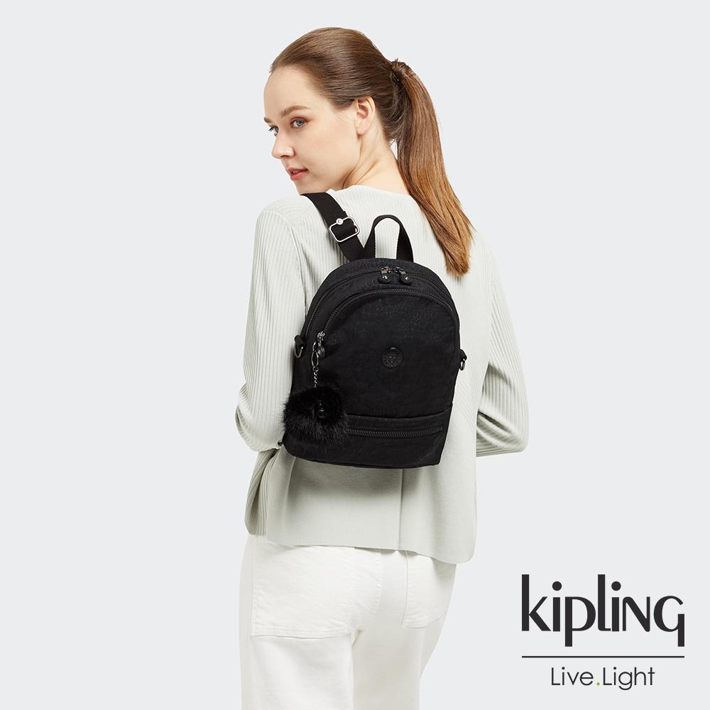 Kipling 時髦黑佐鱷魚紋兩用後背包-IVES S