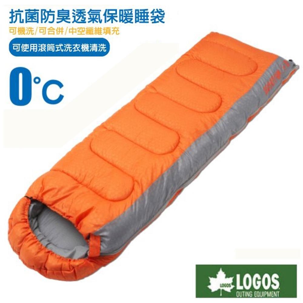 日本 LOGOS 新改款 丸洗 0℃ 0度加長加大抗菌防臭透氣保暖棉被睡袋_桔