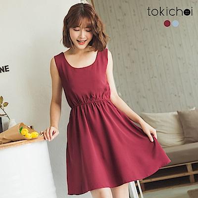 東京著衣 優雅美背鬆緊腰身洋裝-S.M(共二色)