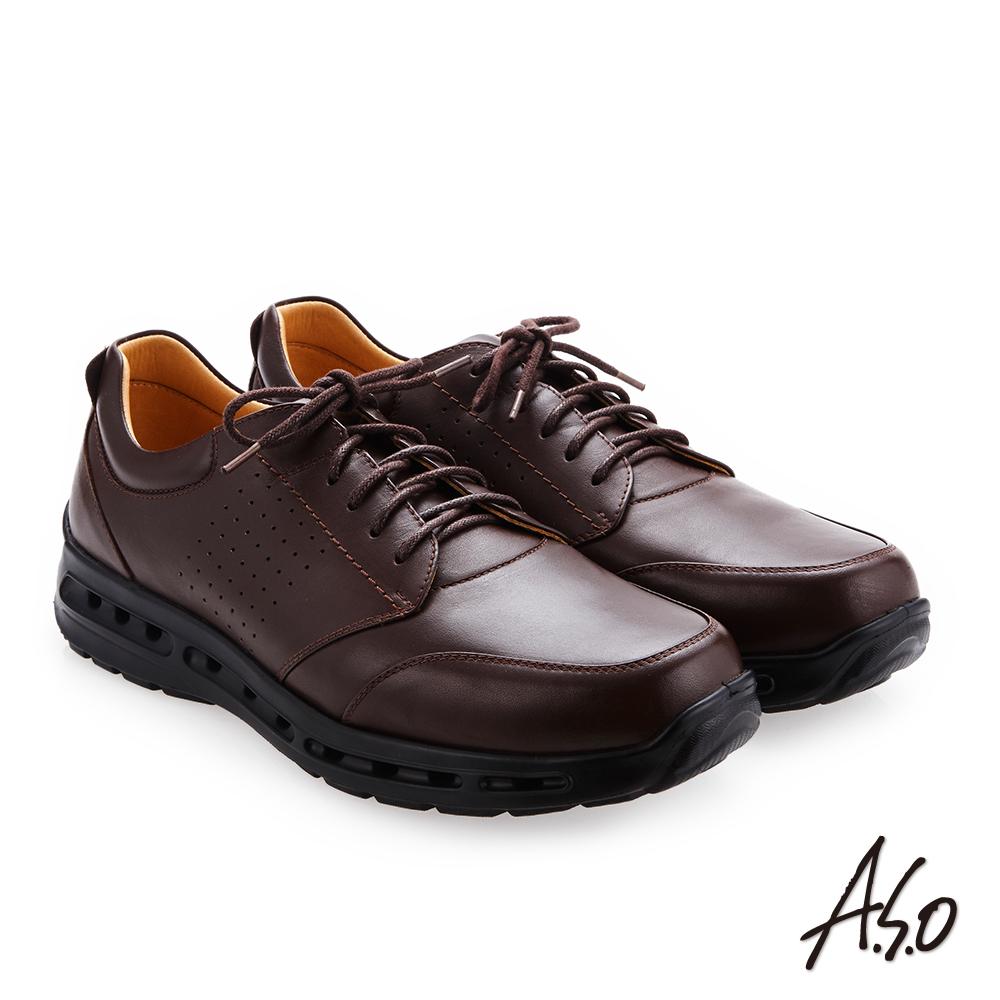 A.S.O霸足氣墊 綁帶奈米牛皮紳士鞋 咖啡