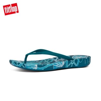 FitFlop IQUSHION NAUTICAL-PRINT FLIP-FLOPS 印花輕量人體工學戲水夾腳涼鞋-女(海洋藍)