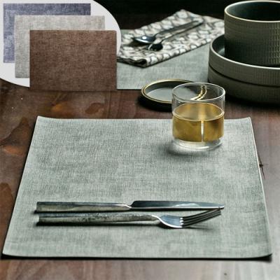 EZlife (4入組)簡約典雅防水隔熱雙面皮革餐墊(贈廚房防油壁貼)