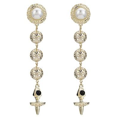 RJ New York 時尚華麗金色年華珍珠立體圓鏤空垂墜耳環
