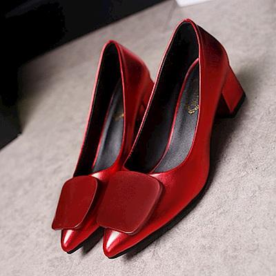 KEITH-WILL時尚鞋館 韓流舒適流線玩色粗跟鞋-熱情紅