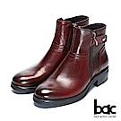 【bac】時尚玩家 -水波壓紋拼接中性短靴