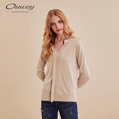 OUWEY歐薇 簡約小翻領含羊絨針織上衣(可/灰/藍)