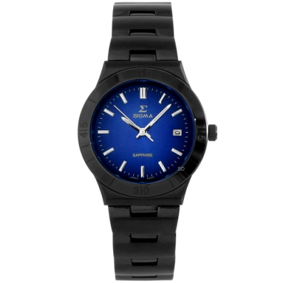 SIGMA 簡約藍寶石時尚手錶-藍X黑/35mm