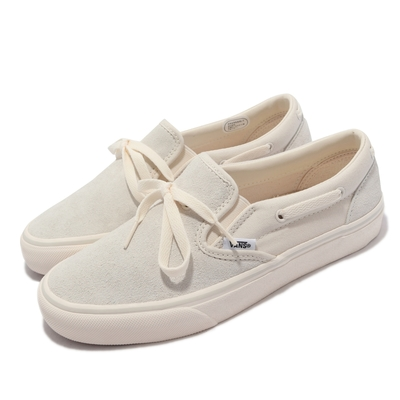 Vans 休閒鞋 V198CF Suede Lacey 女鞋 Moon 麂皮 帆船鞋 懶人鞋 抓地 耐磨 米白 6072300002