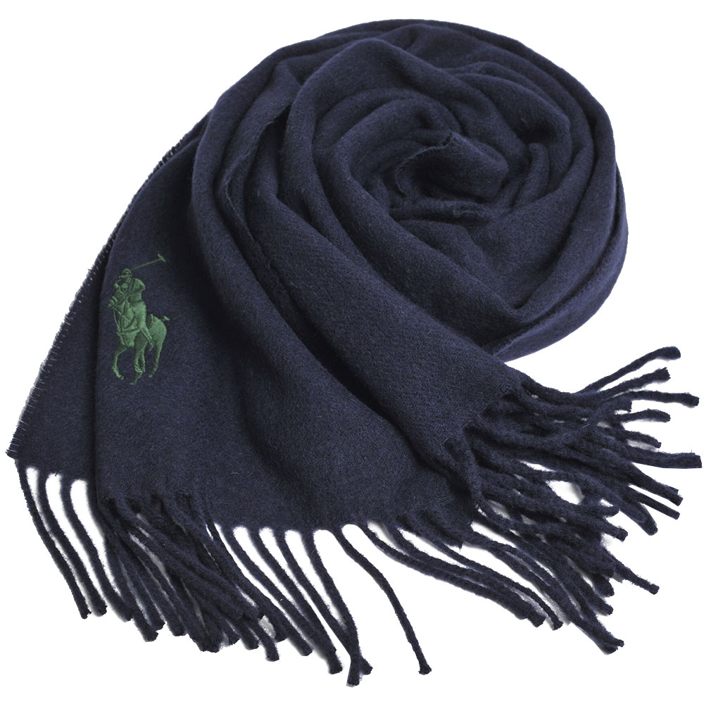 RALPH LAUREN POLO 義大利製大馬刺繡LOGO素面羊毛圍巾(藍色系)