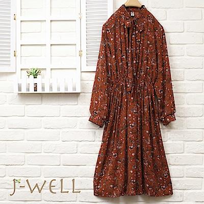 J-WELL 綁結雪紡縮腰洋裝(2色)