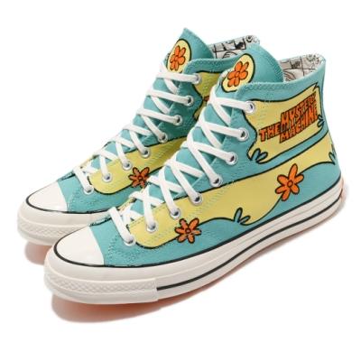 Converse 休閒鞋 All Star 高筒 聯名 男女鞋 史酷比 卡通 電繡花紋 三星 情侶穿搭 綠 黃 169072C