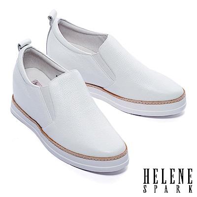 休閒鞋 HELENE SPARK 簡約質感全真皮內增高厚底休閒鞋-白