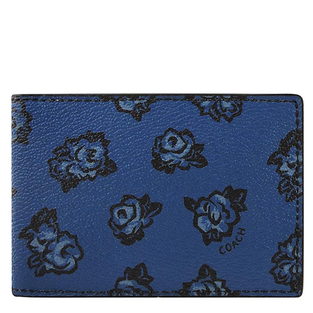 COACH 深藍色花朵圖樣PVC名片夾