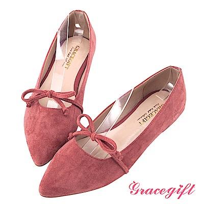 Grace gift-絨面簡約蝴蝶結尖頭平底鞋 磚紅