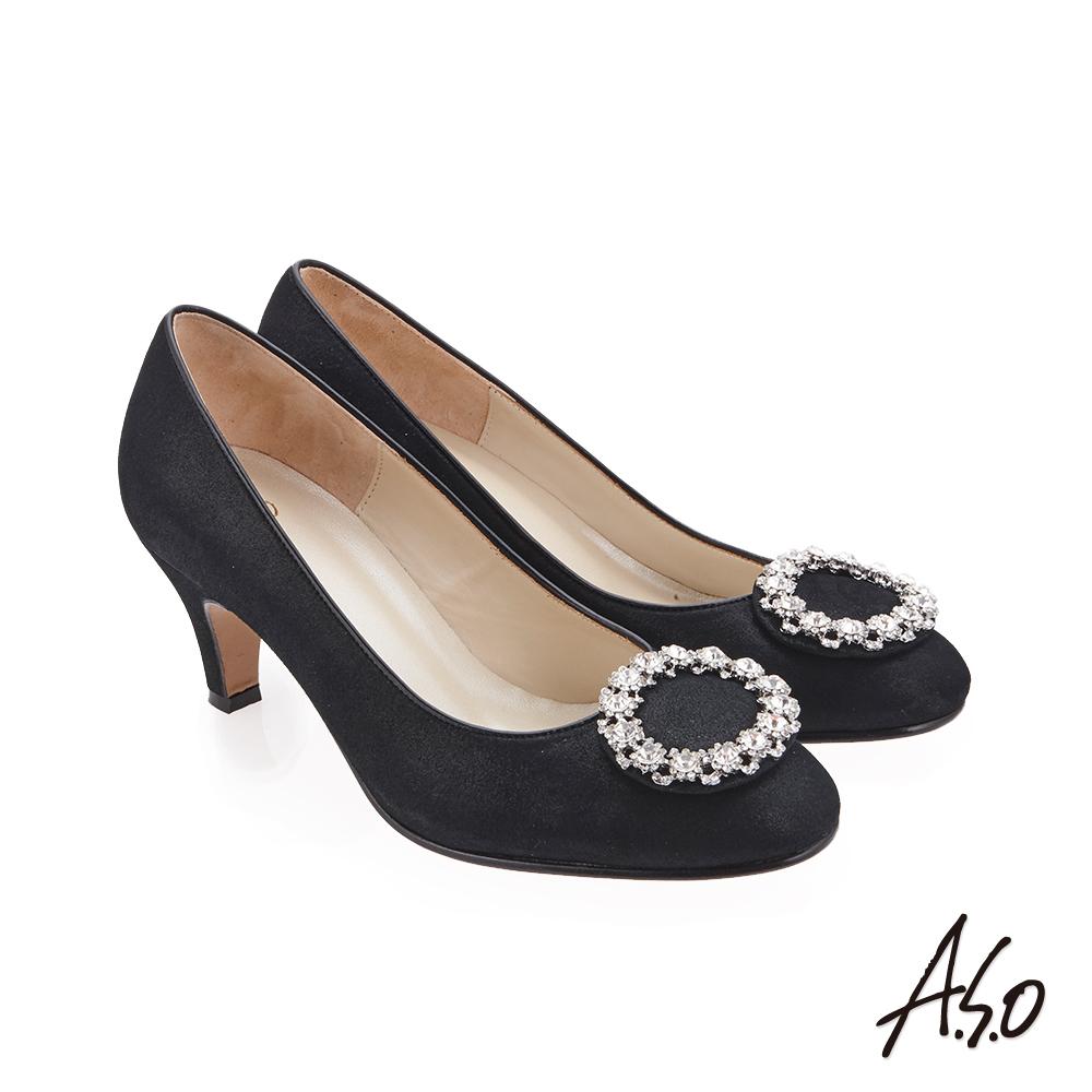 A.S.O 璀璨宴會 圓鑽釦裝飾金箔羊皮高跟鞋 黑