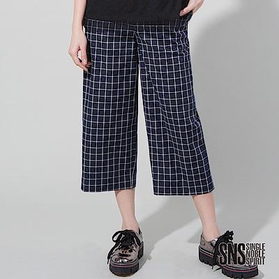 SNS 知性復古學院風線條格紋七分褲(1色)
