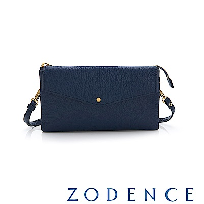 ZODENCE ERATO系列 進口彩色牛皮信封蓋皮夾包(大) 藍