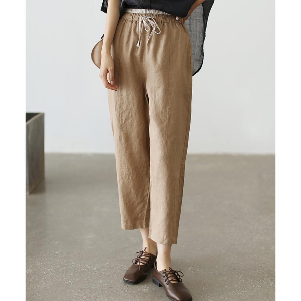 亞麻寬鬆顯瘦百搭直筒韓版九分褲子-設計所在 (淺駝色)