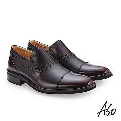 A.S.O 3D超動能 細緻鏡面真皮鞋 酒紅