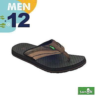 SANUK 男款US12 皮革拼接寬帶人字拖鞋(咖啡色)