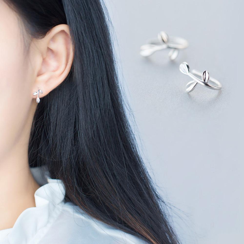 梨花HaNA  韓國925銀極簡夢中的橄欖枝耳環一款二戴可變耳夾