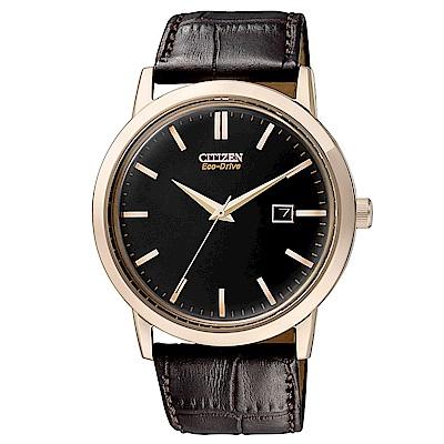 CITIZEN 星辰光動能時尚真皮手錶(BM7193-07E)-黑x咖啡/40mm