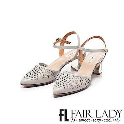【FAIR LADY】優雅小姐Miss Elegant縷空繫帶尖頭粗跟涼鞋 經典灰