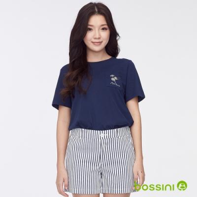 bossini女裝-圓領短袖口袋上衣藏藍色