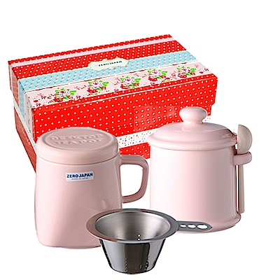 ZERO JAPAN 陶瓷儲物罐+泡茶馬克杯超值禮盒組(桃子粉)