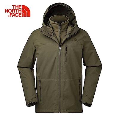 The North Face北面男款軍綠色防水透氣三合一夾克|3KT3ZBK