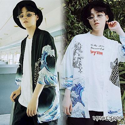 Monkey Shop 日系巨浪神龍鯉魚浮世繪潮流道袍罩衫外套‧二色
