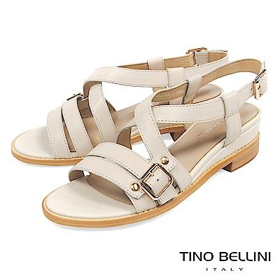 Tino Bellini 質感真皮條帶交叉坡跟涼鞋 _ 米白