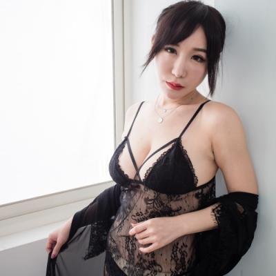 3件式睡袍組 精緻蕾絲性感睡衣 帶胸墊情趣內衣睡衣組 流行E線