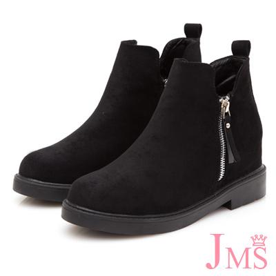 JMS-知性迷人造型雙拉鍊內增高短靴-黑色