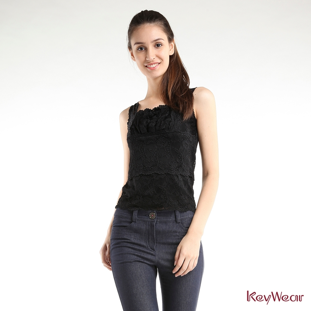 KeyWear奇威名品    浪漫蕾絲背心-黑色