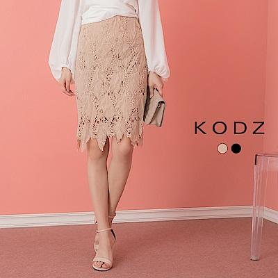 東京著衣-KODZ 高雅迷人高腰鏤空蕾絲窄裙-S.M.L(共兩色)