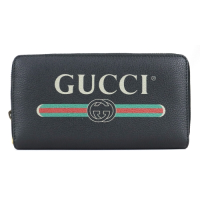 GUCCI  PRINT系列LOGO紅綠織帶標誌小牛皮拉鍊長夾(黑)