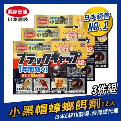 日本興家安速 蟑螂餌劑2gx12入/盒,共三盒組(小黑帽)