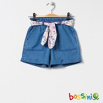 bossini女童-丹寧短褲淡藍