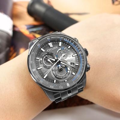 CITIZEN 光動能 萬年曆 電波錶 日期 不鏽鋼手錶-鍍灰/43mm